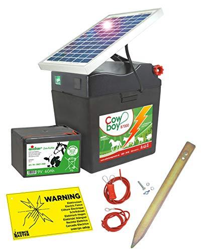 Eider Solar Weidezaungerät Cowboy B 7000 mit 5 Watt Solarmodul & 9V Batterie, 60 Ah - verlängerte Batterielaufzeit durch Moderne Solartechnik - erste Wahl für Pferde- & Ponyzaun - Made in Germany