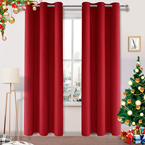 DWCN Red Blackout Curtains Room Darkening Thermal Insulated Thick Curtains for Bedroom Living Room Privacy Drapes Grommet Top Window Curtain Panel 42 x 84, Set of 2 Panels