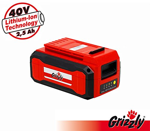 Grizzly 40 Volt (2,5 Ah) Lithium Ionen Akku, passend zum 40 Volt Akkusystem, Art 4032, ASF 4046, ARM 4041, AS 4026,AKS 4035, AS 4026, ARV 4038, ASF 4046, AKS 4035, Art 4032
