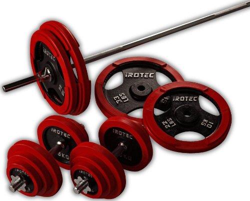 IROTEC (アイロテック) ラバー バーベル ダンベル 100KGセット 安心のラバーリング!床に置く時も静か! (バーベルシャフト長さ200cm)