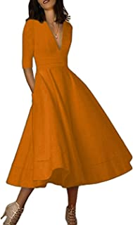 ORANDESIGNE Damen Cocktailkleid Elegantes Vintage Kleid V Ausschnitt 3/4 Ärmel Midikleid Partykleid A-Linie Abendkleid Faltenrock