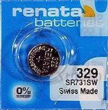 Dos Renata–Pila de botón de óxido de plata 329RENATA 1.55V 37mAh de