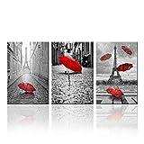 Zhaoyangeng Paraguas rojo volando en la lluvia decoración de la pared de la torre de París impresiones lienzo arte de la pared decoración del hogar blanco y negro paisaje 50 x 70 cm x 3 sin marco