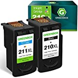 GREENBOX Remanufactured Ink Cartridge Replacement for Canon PG-210XL CL-211XL 210 XL 211XL for PIXMA IP2702 MX410 MP495 MP230 MP240 MP280 MX340 MX350 MX360 Printer (1 Black 1 Tri-Color)