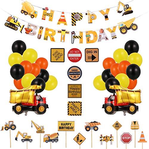 You&Lemon Juego de decoración de cumpleaños para niños, 47 piezas, con pancarta de 'Happy Birthday', globos, globos de aluminio, decoración para tartas y pegatinas de cumpleaños