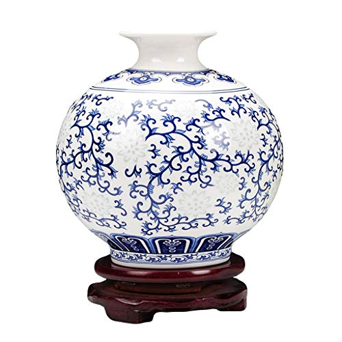 Vase Céramique Petit Bleu Et Blanc Os Exquis Chine Mince Pneu Classique Moderne Chinois Salon Table...