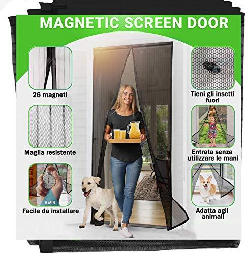 Jellas Zanzariera Magnetica 140x240cm, Chiusura Automatica-zanzariere magnetiche per porte, Impedendo agli Insetti di entrare-facile da installare-Non Accorciabile, nero
