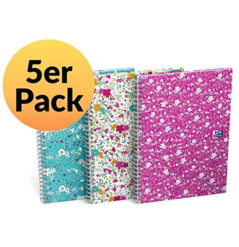 Oxford Hardcover Spiralbuch B5 kariert 5er Pack mit je 60 Blatt weiße Doppelspirale 3 Designs sortiert