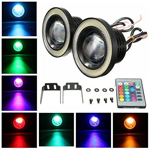 MASUNN sans Fil de 3,5 Pouces LED RGB Couleur Brouillard lumières Blanc Angel Eye Anneaux Voiture lumières