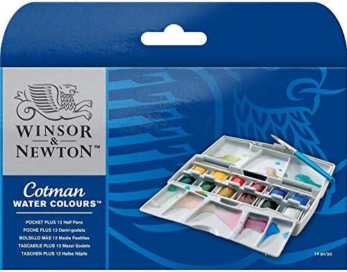Winsor & Newton 390373 Cotman Water Colour Paint Pocket Plus Set, Set of 12, Half Pans