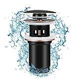 Linkax Tapones de Desagüe Lavabo Válvula Pop-Up Válvula Desagüe con Rebosadero Desagüe Universal Click-Clack(negro)