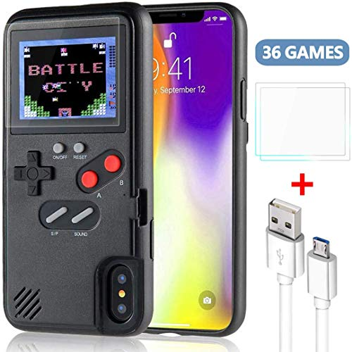 Gameboy Case for iPhone, Handheld Retro Game Console Phone Protective Case with 36 Small Game, Color Display Shockproof Video Game Phone Case for iPhone x/xs(Black)