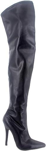 WONDERHEEL WONDERHEEL WONDERHEEL 5  Stiletto Sexy Bottes Cuir Matt Noir Cuissarde Crougech bottes Femme bd5