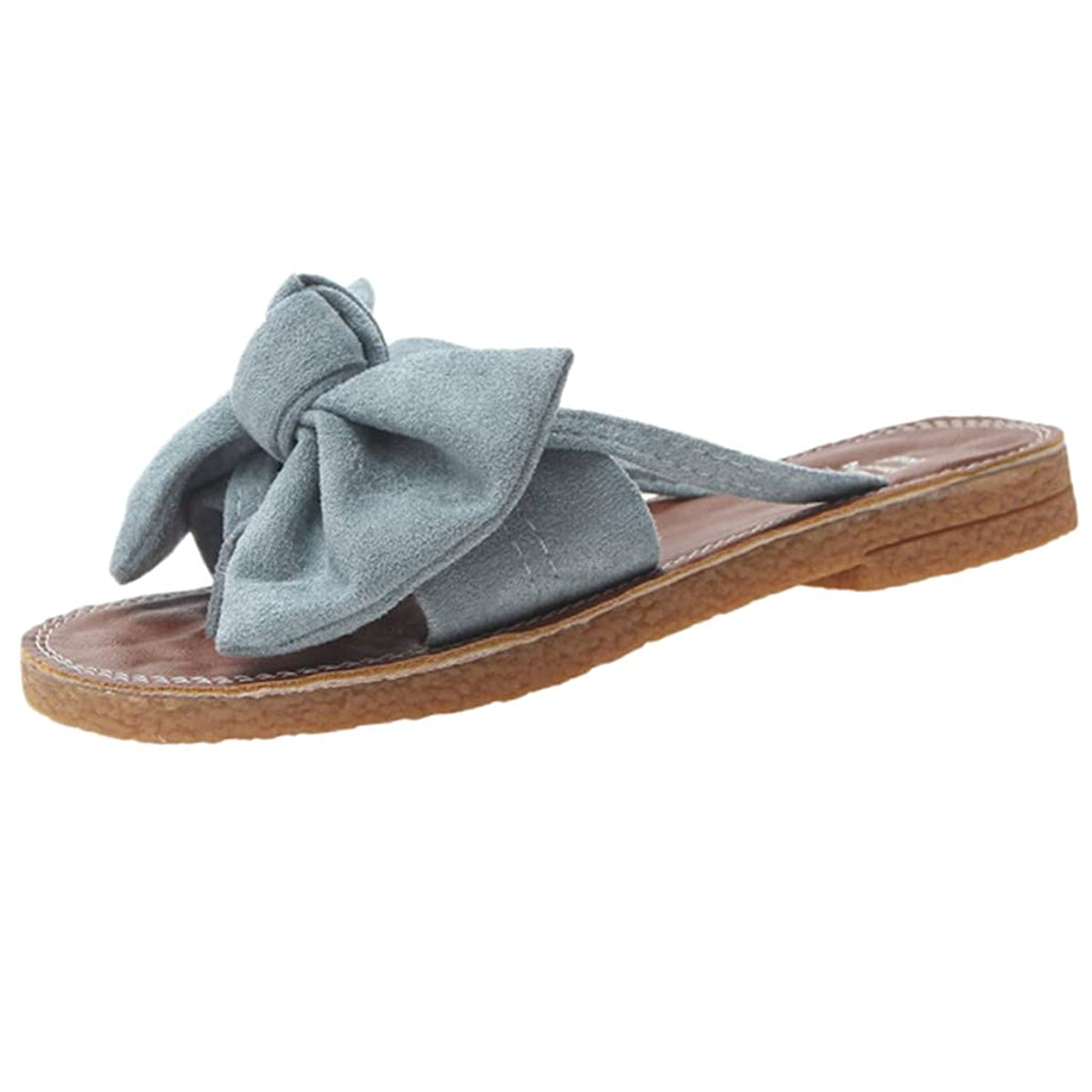 DENER Women Girls Ladies Summer Flat Slippers,Bow Tie Low Heels Wide Width Sandals Beach Shoes