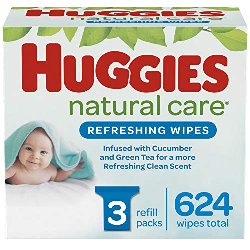 Huggies Natural Care Refreshing Baby Wipes, Scented, 3 Refill Packs (624 Wipes Total)