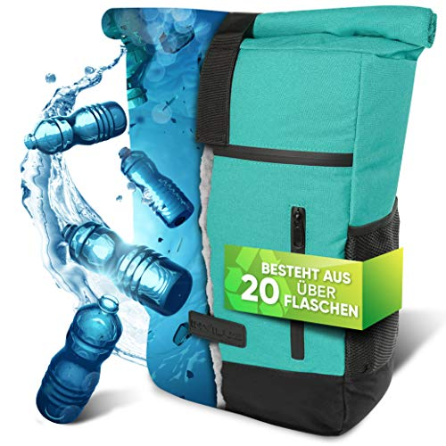 invilus ® - Rolltop Rucksack Damen und Herren aus Recycelten Plastikflaschen | Rucksack Uni | Laptop Rucksack Mint | Tagesrucksack Damen | Rucksack Türkis | Fahrradrucksack | Rucksack Mint