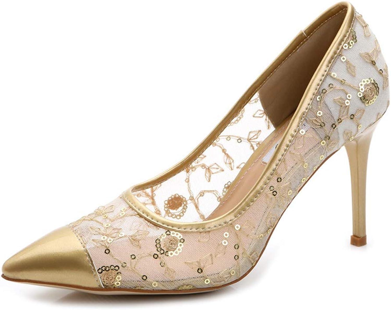 HLG Frauen high heels spitze zehenpumpen stiletto schuhe sexy hohl atmungsaktives mesh schuhe cortex wedding court schuhe