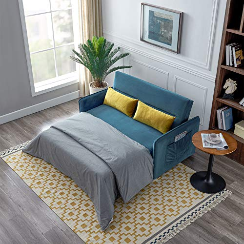 Merax Sleeper Sofa Couch Compact Soft Velvet Sofa Bed Pull-Out Sleeper Sofa 2 in 1 Sofa Bed (with 2 Lumbar Pillow),Blue