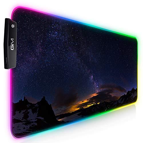 GIM Tappetino per mouse RGB da gioco, XXL, a LED, grande 900 x 400 x 4 mm, 14 modalità di illuminazione, per mouse e tastiera, ingresso USB extra (cielo stellato)