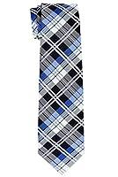 (リトリーズ) RETREEZ メンズ タータンチェック 織物 マイクロファイバー 男児用ネクタイ - 8-10歳 り - ダークグレー&ブルー