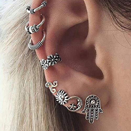 Anglacesmade Boheemse Zon Maan Oorbellen Set 8 Stks Fatima Hand Niet-Piercing Cartilage Oor Clip Punk Hoop Oor Manchet voor Vrouwen en Meisjes