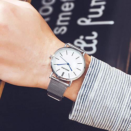 Powzz ornament Armbanduhren Nordic Simple Quartz Herrenuhr Herrenuhr - Weißer Silberner Plattengürtel