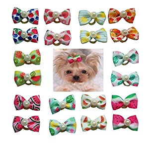20PCs/Pack Dog Bows Topknot Small Dog Hair Bows with Rubber Bands Pet Dog Grooming Bows Dog Hair Accessories