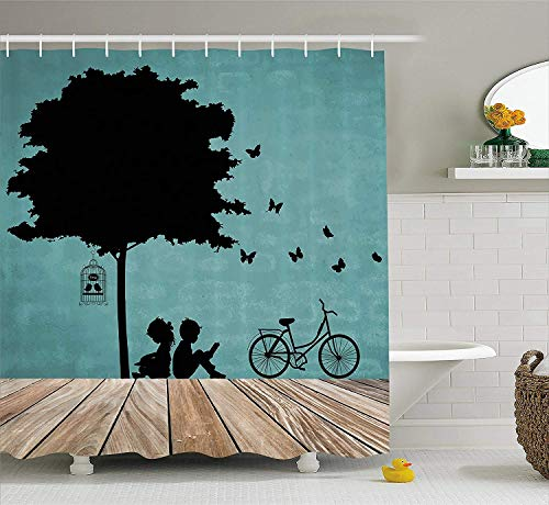 AORSTAR Rideau de Douche d¨¦cor Kids Shower Curtain, Boy and Girl Children Reading Under a Tree with a Bird Cage and Bicycle, Cloth Eco-Friendly Tie-Dye Decor 60 x 72 inches, Pale Brown Black Seafoam