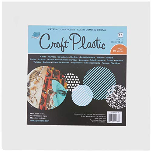 Grafix Clear Craft Plastic .007 Thickness 12-Inch by 12-Inch, Pack of 25