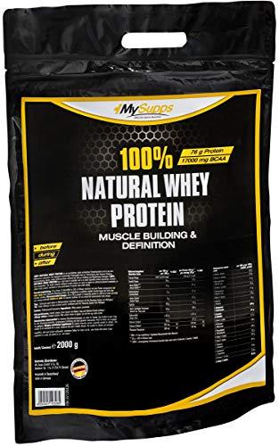 MySupps- 100% Natural Whey Protein, hochbioverfügbares Whey, 76g Eiweiß auf 100g + Vitamin B6, BCAA & Mineralien Matrix, Ohne Zusätze-Ohne Süßstoffe, Super Löslich, Made in Germany- 2000g Pulver