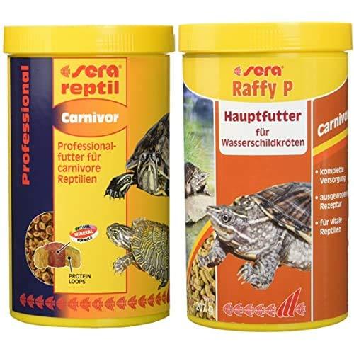sera Bundle Wasserschildkröten - 2mal 1000ml Futter gemischt reptil Professional Carnivor und Raffy P