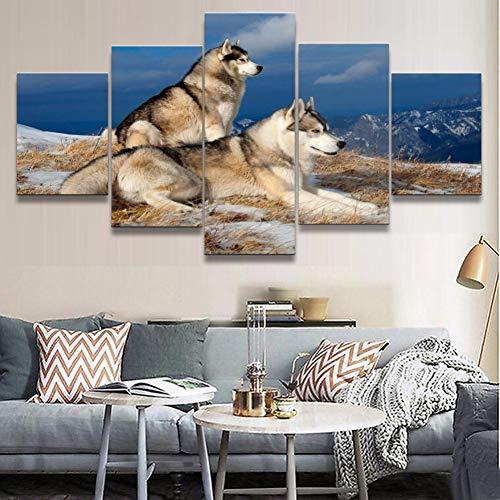 KGKBH 5 Leinwandbilder Wandkunst Modulare Bild Malerei 5 Panel Tier Husky Figur Für Wohnzimmer Home DekorativeLeinwand