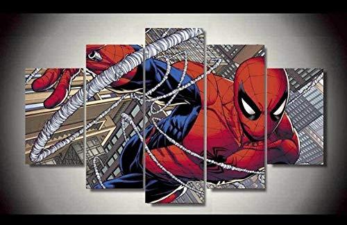 Lienzo en Cuadro Abstracto Moderno 200x100 cm Impresión Personaje de película de superhéroe Spiderm 5 Piezas Material Tejido no Tejido Impresión Artística Imagen Gráfica Decoracion de Pared Arte