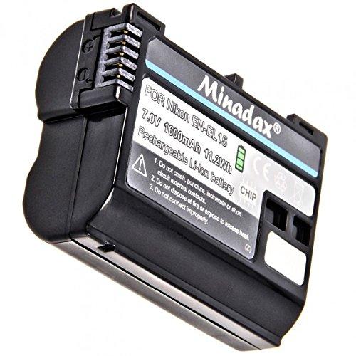 Batteria Minadax Li-Ion 1600mAh compatibile con Nikon D7500, D7200, D7100, D7000, D810A, D810, D800E, D800, D750, D610, D600, D500 e Nikon 1 V1, Battery Grip MB-D12, MB-D11 - Sostituisce EN- EL15