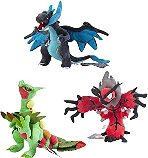 D-Khaleesi Mega Charizard X and Sceptile, XY Yveltal Figure Animal Toys Stuffed Plush Doll Collectable Xmas Gift Set of 3