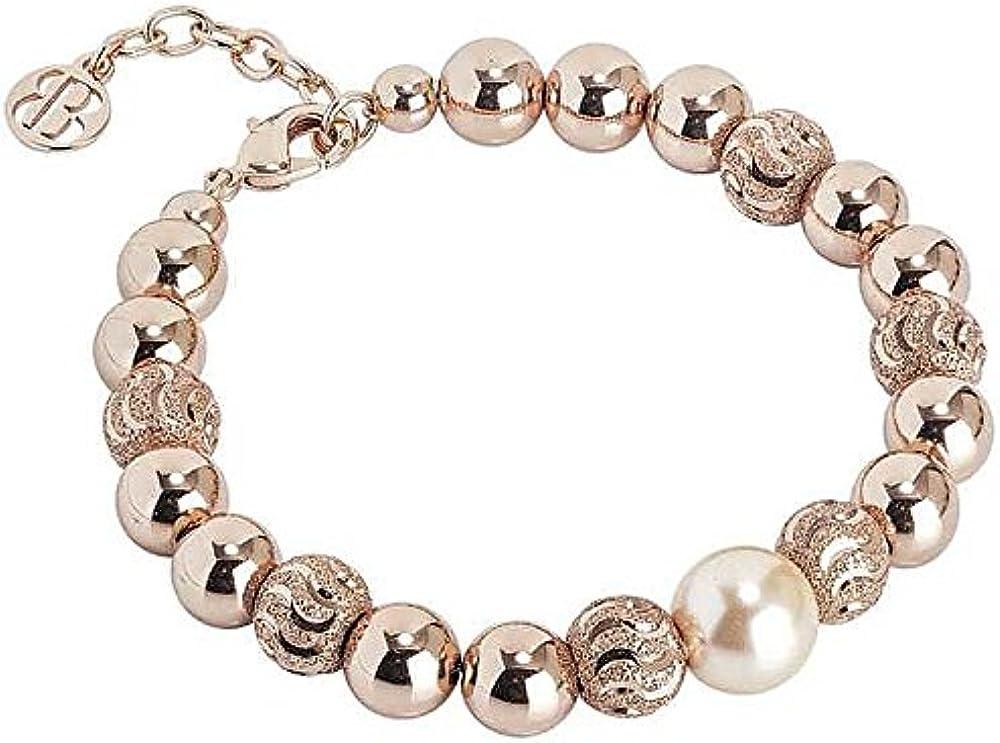 Boccadamo, bracciale per donna,in bronzo placcato oro rosa con perla swarovski peach centrale Xbr493Rs