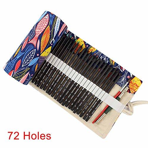 Alftek Pennenmapje, canvas, roll pouch cosmetica, make-upkwast, val, potlood, gordijn, tas, patroon gedrukt