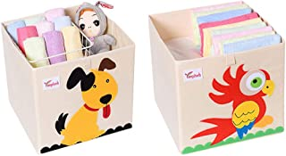 SITAKE 2Pcs Foldable Animal Storage Toy Box/Bin/Cube - Organizer Container Cube Storage Box for Kids & Toddlers - Collapsible Toy Storage Cubes Organizer (13 x 13 x 13 Inch, Dog & Parrot)