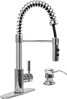 PHASAT Kitchen Faucet with Pull Down Sprayer and Soap Dispenser - Single Handle Chrome High Arc Pull Out Pre-Rinse Kitchen Sink Faucets with Deck Plate Escutcheon,PTKC01U