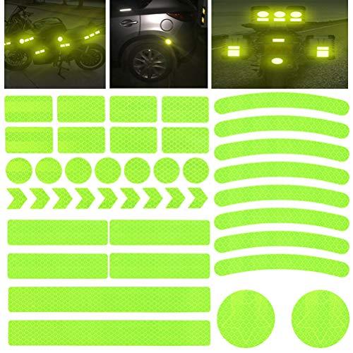 HONMIED 42 Pegatinas Reflectantes para Bicicletas, Reflector de Bicicleta Impermeable, Cinta de Seguridad Reflectante para Cochecitos, Bicicletas, Motocicletas y Cascos de Motocicleta, Amarillo