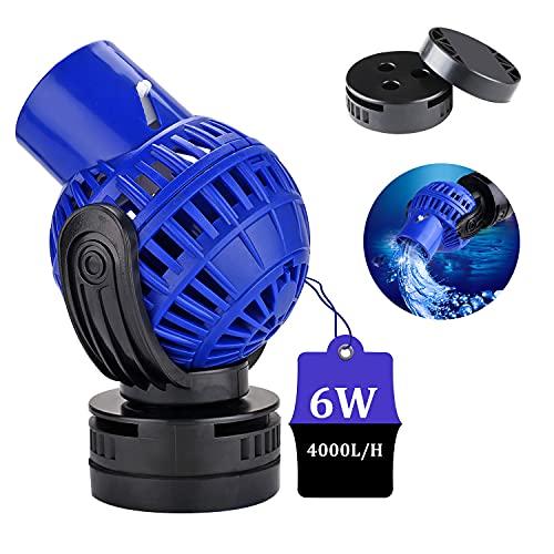 EXLECO Aquarium Strömungspumpe Wavemaker 4000L/H 6Watt Umwälzpumpe Wellenpumpe JVP-130 Wave Maker 360 ° schwenkbar für 40~80cm Süß- und Salzwasseraquarien