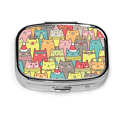Christmas Cats Seamless Pattern Custom Fashion Silver Square Pill Box Medicine Tablet Holder Wallet Organizer Case For Pocket Or Purse Vitamin Organizer Holder Decorative Box