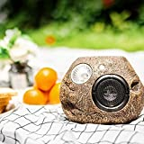 Waterproof Bluetooth Rock Speaker - Solar - Powered Outdoor Wireless Speaker Play Two Together, for Garden, Party, Backyard, Brown
