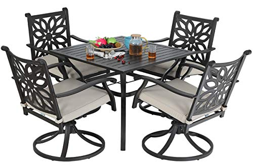Sophia & William Patio 5 Pieces Dining Set Outdoor with 4 Swivel Dining Chairs and 1 Square Dining Table, Patio Cast Aluminum Chairs and Metal Steel Slat Dining Table with Umbrella Hole