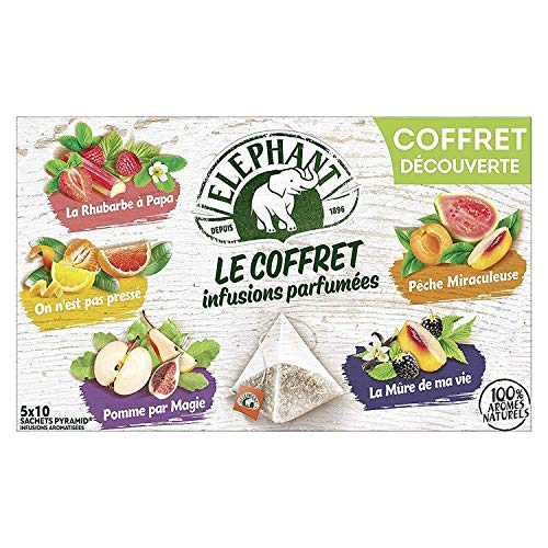 Elephant Coffret Infusions Parfumées Assortiment de 5 Variétés 50 Sachets (Lot de 5x10 Sachets)