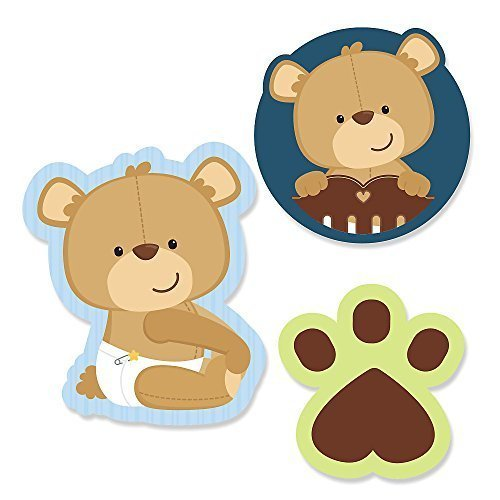 Big Dot of Happiness Baby Boy Teddy Bear - DIY Shaped Baby Shower Party Cut-Outs - 24 Count