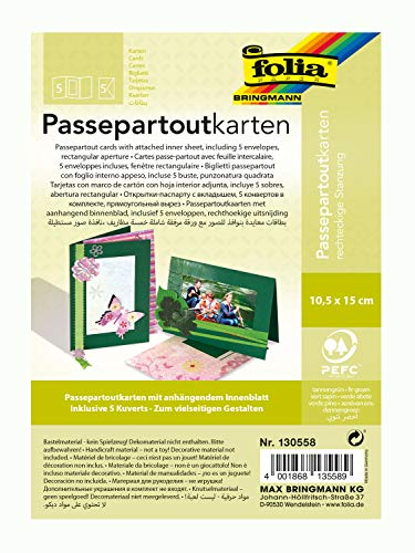 folia 130558 - Passepartouts mit rechteckiger Stanzung, ca. 10,5 x 15 cm, 5 Karten (220 g/qm) und Kuverts, tannengrün - ideal für Einladungen, Glückwunsch- oder Grußkarten