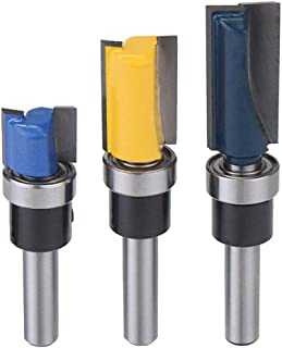Saiper 1/4'' Shank Flush Trim Pattern Router Bit Set with Bearing Template Router Cutter Woodworking Milling Tools, Set of 3