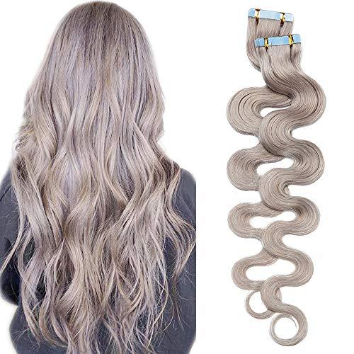 SEGO Tape Extension Biadesivo Capelli Veri Adesive 20 Ciocche Biadesive Remy Human Hair Naturali Mossi Ricci 50g (40 cm, Grigio)