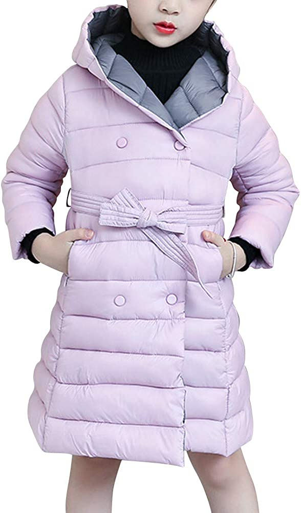 Phorecys Girls' Lightweight Hooded Padded Double New product type Portland Mall -Breast Quilted